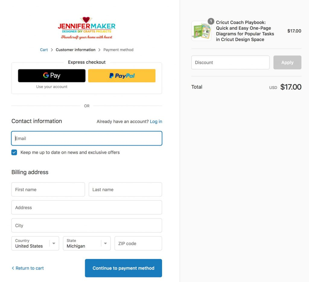 A Shopify payment page pre-filled for a tripwire upsell